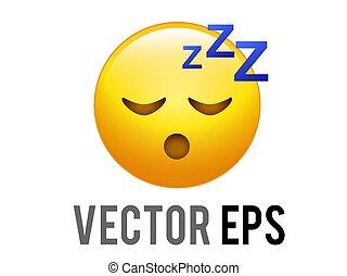icono, soñoliento, símbolos, amarillo, vector, cara, zzz