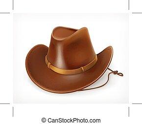 icono, sombrero, vaquero
