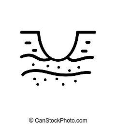 icono, suelo, agujero, cavado, contorno, vector, ilustración