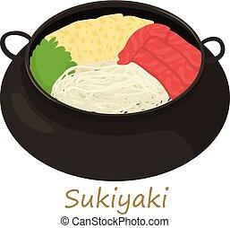 icono, sukiyaki, estilo, caricatura
