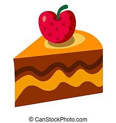 icono, tarta, pedazo