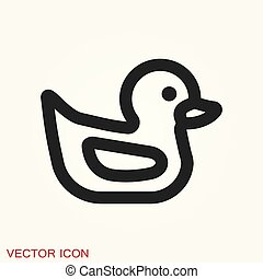 icono, tela, vector, pato, icon., granja, diseño