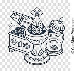 icono, tradicional, magi, ofrendas