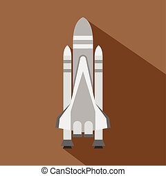 icono transbordador, estilo, espacio, plano