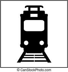 icono, tranvía, aislado