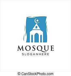icono, vector., acción, musulmán, diseño, logotipo, masjid, ...