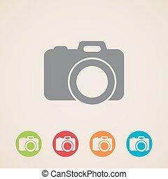 icono, vector, cámara