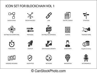 icono, vector, conjunto, blockchain