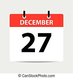 icono, -, vector, diciembre, calendario, 27