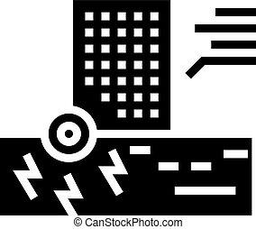 icono, vector, ilustración, rascacielos, resistencia, sísmico, glyph
