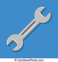 icono, vector, llave inglesa