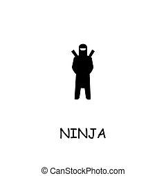 icono, vector, ninja, plano