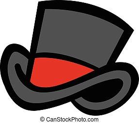 icono, vector, sombrero, cima