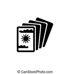 icono, vector, tarjetas, tarot, misterio, plano, mágico