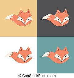 icono, vector, zorro, illustration., rojo