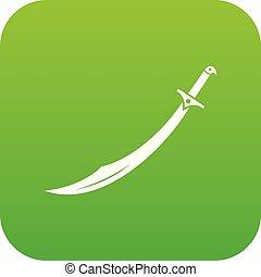 icono, verde, cimitarra, espada, digital