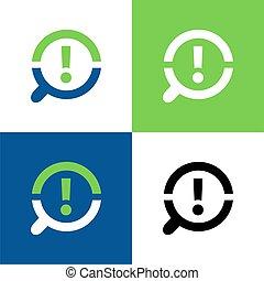 icono, vidrio, magnifyng, ilustración, exclamación, diseño, vector, marca, logotipo