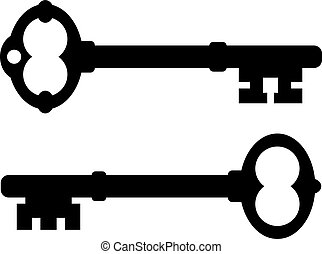 icono, viejo, llave
