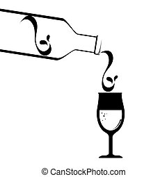 icono, vino, aislado, botella, taza