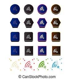 icono, wi - fi, símbolo