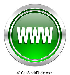 icono, www, verde, botón