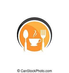 icono, y, café, logotipo, resto, vector