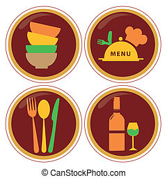 iconography - four red icons with colored silhouettes of...
