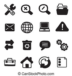 iconography - sixteen white and black icons of web tools in...