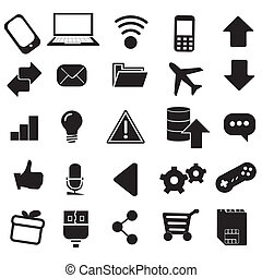 iconography - twenty five black and white silhouettes of web...