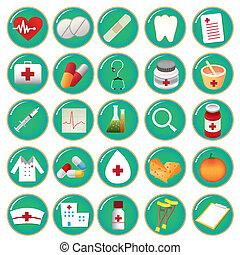 iconography - twenty five green icons with colored elements...