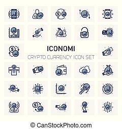 ICONOMI Coin Crypto icons set