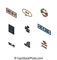 iconos, 3d, radio, conjunto, vector, illustration.