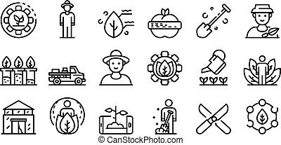 iconos, agronomist, estilo, conjunto, contorno