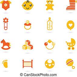 iconos, aislado, colección, naranja, vector, bebé, blanco