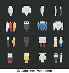 iconos, alambre computadora, cable
