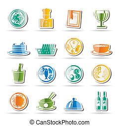 iconos, alimento, restaurante, bebida