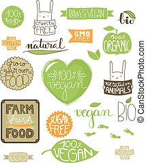 iconos, ambiental, etiquetas, insignias