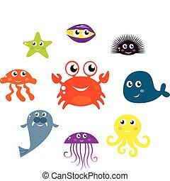iconos, animales, mar, aislado, vector, criaturas, blanco