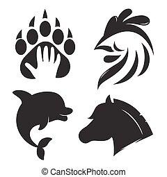 iconos animales, o, logos.