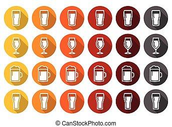 iconos, anteojos, diferente, cerveza, tipos