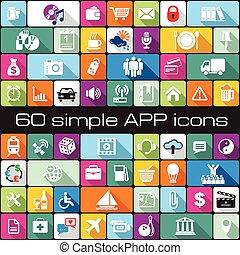 iconos, app, conjunto