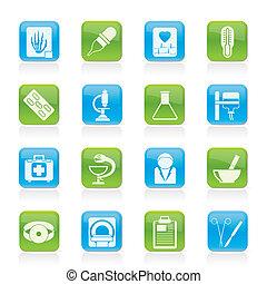 iconos, atención sanitaria, medicina