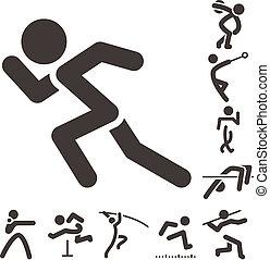 iconos, atletismo, conjunto