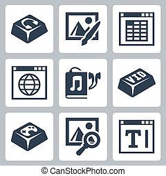 iconos, audiobook, imagen, examinador, aislado, jugador,...