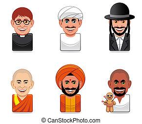 iconos, avatar, gente, (religion)