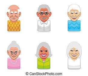 iconos, avatar, gente, (senior)