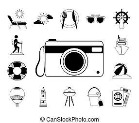 iconos, aventura, estilo, relajante, verano, viaje, vacaciones, recreación, línea