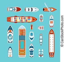iconos, barcos, vista, conjunto, cima, plano
