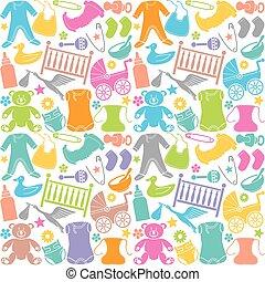 iconos, bebé, patrón, seamless