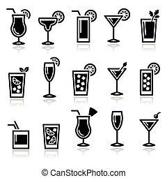 iconos, bebidas, anteojos, cócteles